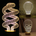 Hot Sale  Magical Optical Illusion 3D Wood Mood Lamp Micro USB Table Glowing  Base Skull Spiral Bulb  Illusion Decorative Lamp