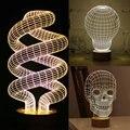 Venta caliente mágico ilusión óptica 3d mesa de madera lámpara de estado de ánimo micro usb base de brillantes cráneo bombilla espiral ilusión lámpara decorativa