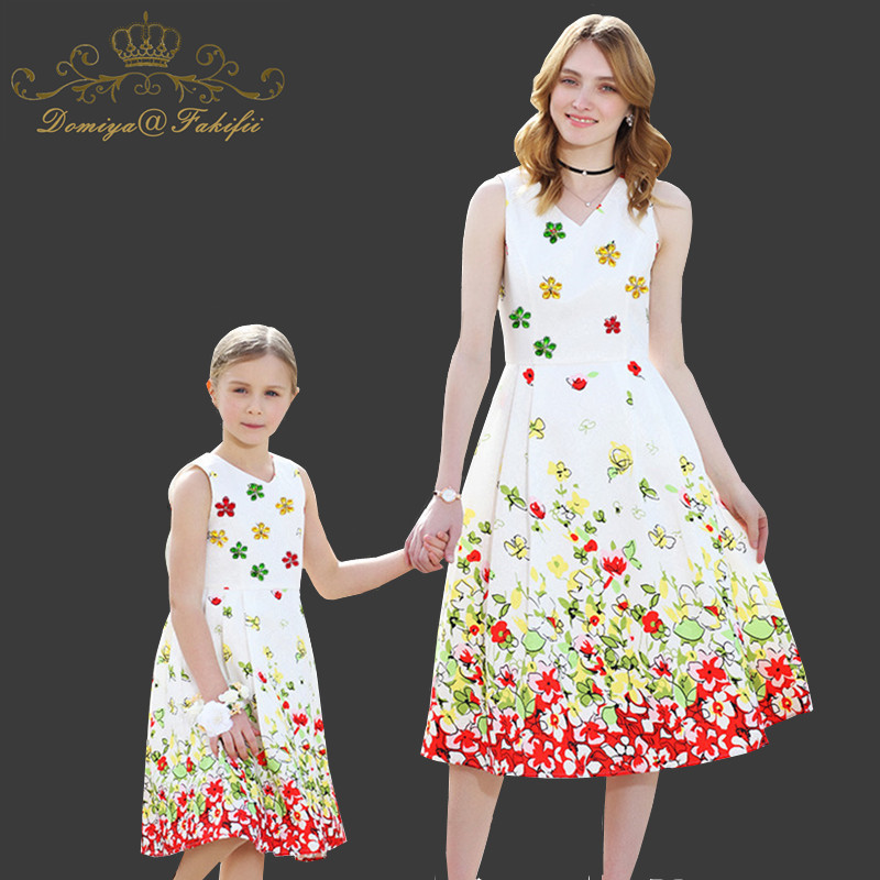 2018 Summer Brand Mother and Daughter Dress Family clothing Princess Dress Girls Costume Princess Costume Christmas Dresses Kids