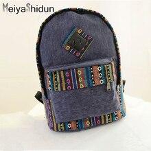 MeiyaShidun Ethnic style Canvas backpacks Floral Stripe School Shoulder backpack School Bags for Teenager Girls Sac a Dos Femme