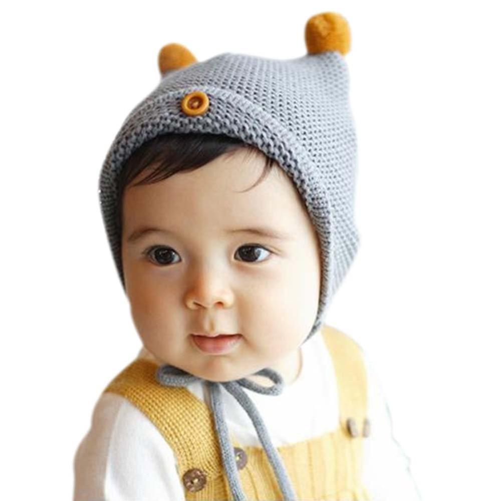 Kids Toddler Girls Hat Winter Cap Tie up Warm Lace Up