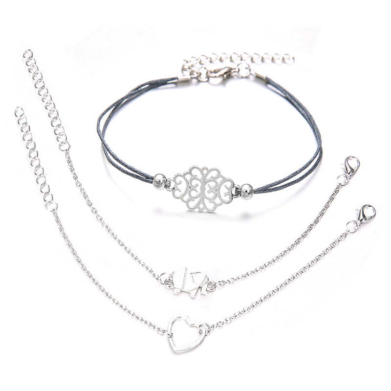 New Fashion Simple Charm Bracelets Set For Women Silver Color Boho Elephant Love Chain Pulseras Mujer Jewelry Gifts in Charm Bracelets from Jewelry Accessories