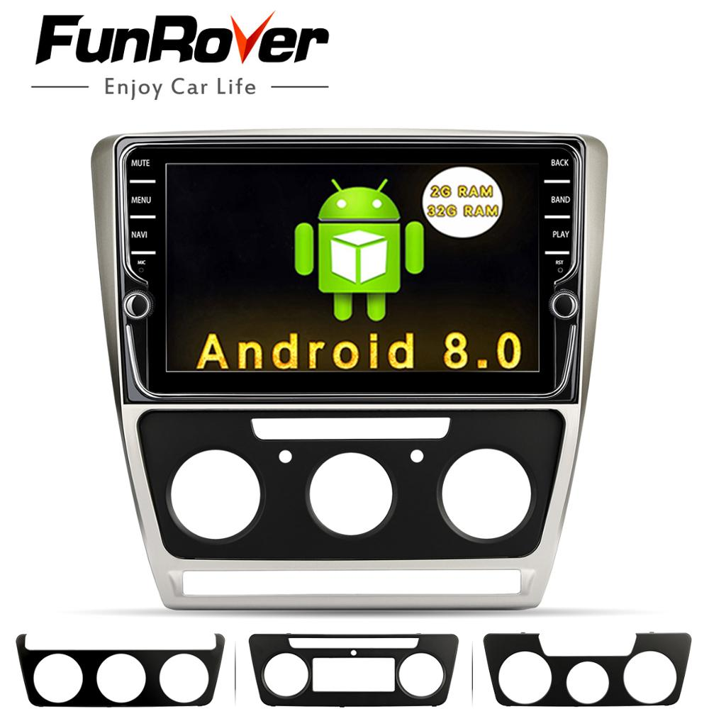 Funrover 9''Android 8.0 2 din Car Dvd Multimedia Player For Skoda Octavia 2012 2013 A 5 A5 Yeti Fabia Stereo Radio Navigation fm shining wheat genuine leather steering wheel cover for skoda octavia superb 2012 fabia skoda octavia a 5 a5 2012 2013 yeti