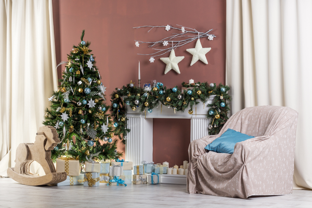 Indoor Fireplace Christmas Tree Photography Background: Christmas Photography Backdrop Christmas Tree Gifts White
