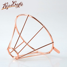 ФОТО rose gold metal reusable coffee filter holder coppper brew drip coffee filters accessories funnel mesh tea filter basket tools