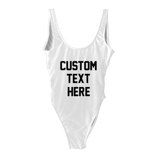 Custom Texts One Piece Swimsuit Women Swimwear Plus Size Bathing Suit monokini Beach Wear badpak maillot de bain Swim Suit Black