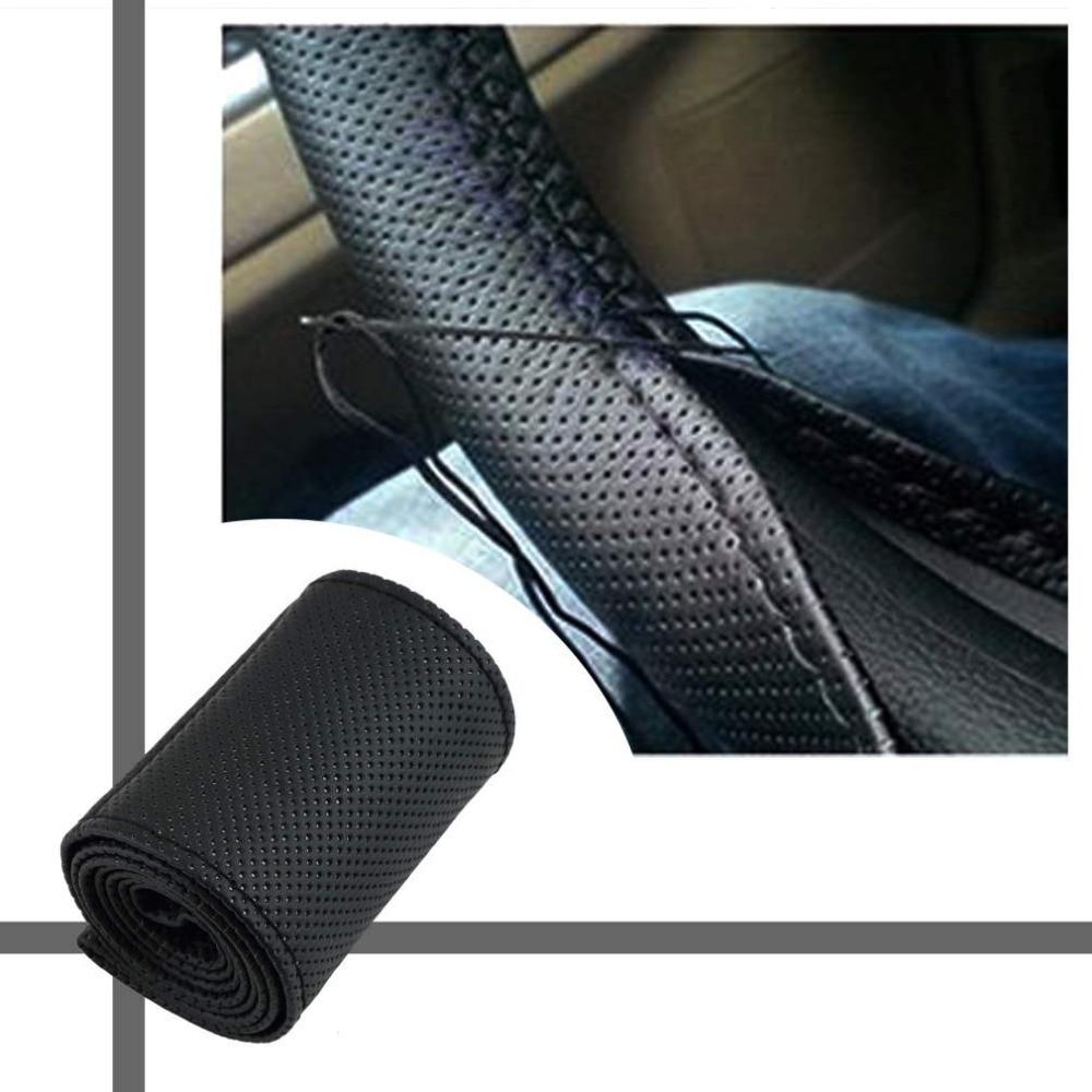2017 범용 Anti-slip 통기성 PU 가죽 DIY 자동차 스티어링 휠 커버 케이스 바늘과 스레드 HOT