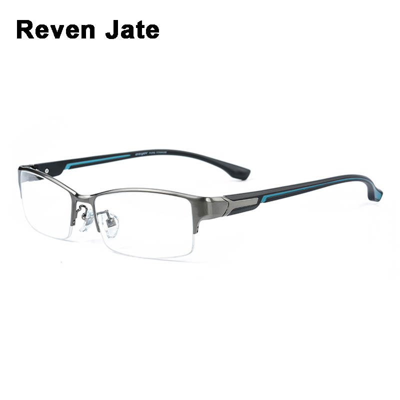 Reven Jate Super Fashion Men Eyeglasses Frame Ultra Light weighted Flexible IP Electronic Plating Metal Material