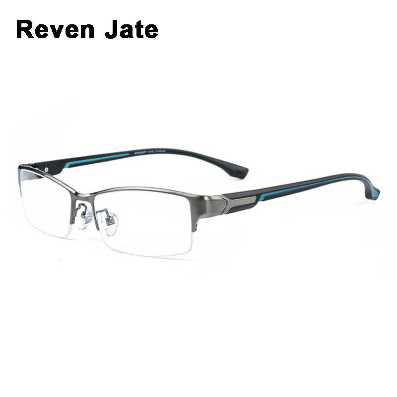 Reven Jate Super Fashion Men Eyeglasses Frame Ultra Light-weighted Flexible IP Electronic Plating Metal Material Rim Glasses Man