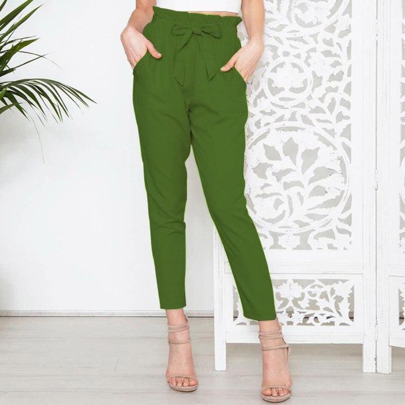 Women Solid Color High Waist Loose Pants Summer Trousers Long Harem Pants Elastic Lace Up Black Pants Plus Size