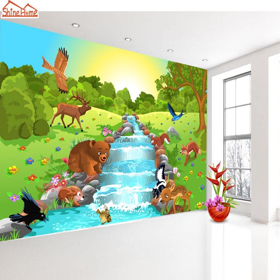 ShineHome-Cartoon Animal World by River Custom Wallpapers 3d Kids Children Baby Girls Living Room Bedroom Custom Wall Paper flood risk management by transboundary river of gangetic delta