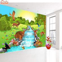 ShineHome-Cartoon Animal World by River Custom Wallpapers 3d Kids Children Baby Girls Living Room Bedroom Custom Wall Paper(China)