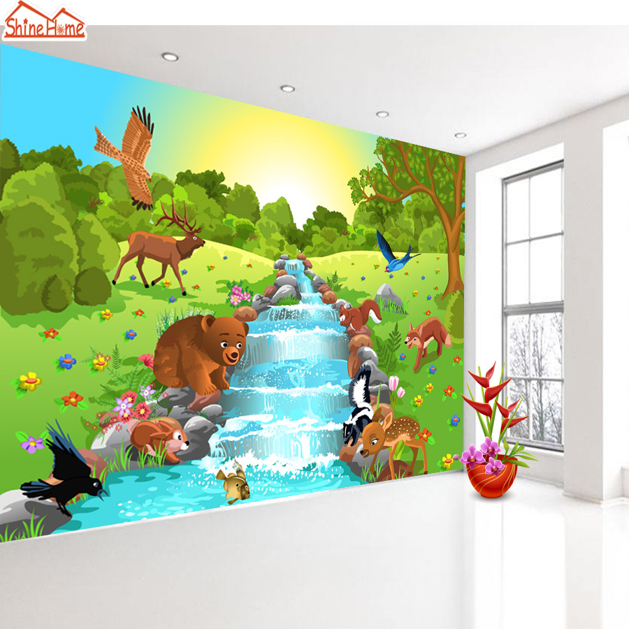 shinehome cartoon khlen tier welt 3d wald foto tapetenrollen fr wnde 3 d wohnzimmer natur tapeten wand rolle papier - Natur Wand Im Wohnzimmer