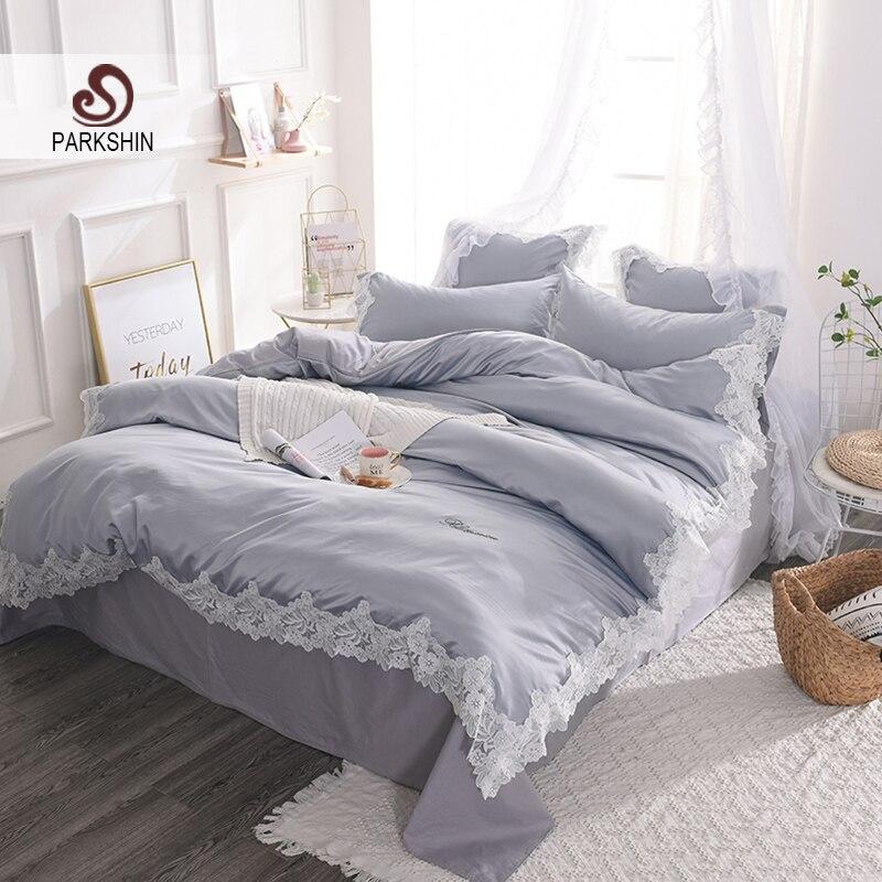 ParkShin Luxury Lace Rim Gray Silk Bedding 100% Silk Set