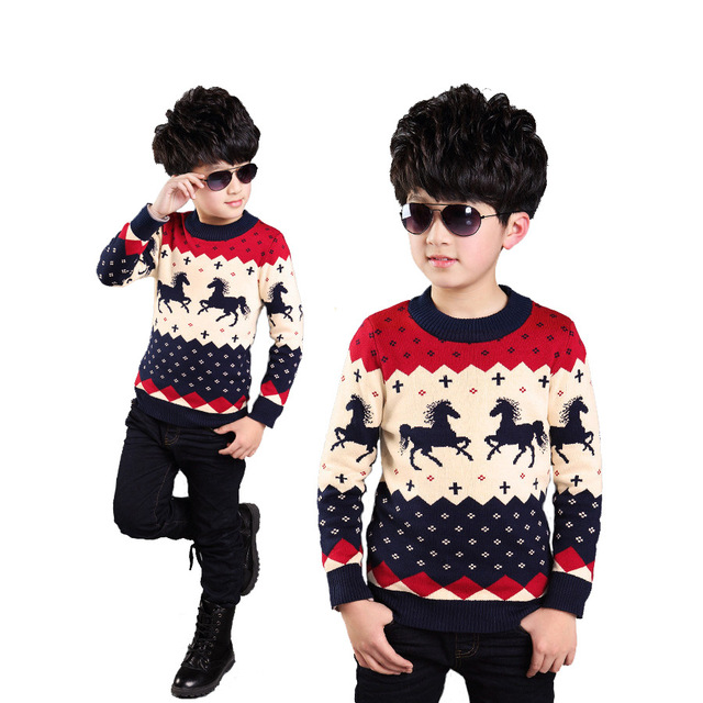 Child sweater autumn and winter children's clothing horse sweater child long-sleeve sweater boys sweater thickening basic o-neck
