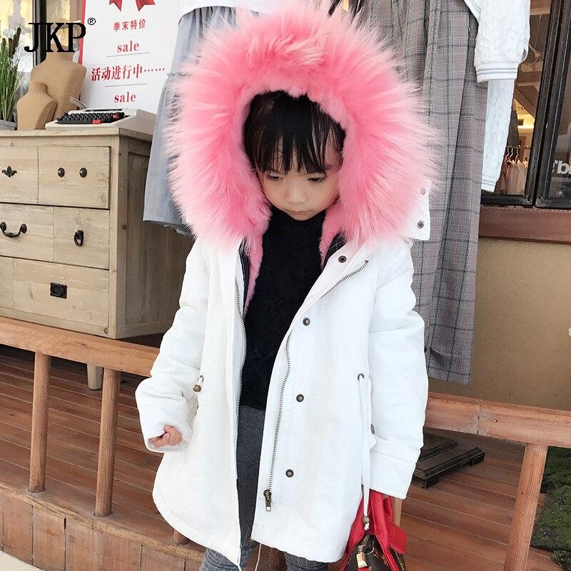 2017 Зима Детская натуральный мех енота меховой воротник белое пальто для девочек с мехом кролика лайнер парка Детские куртки