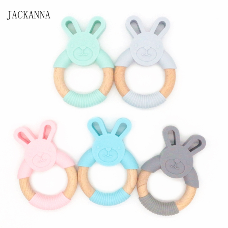 10PCS Cute Rabbit Silicone Teether Wooden Animal Teething Ring Baby Teethers Cute Bunny Nursing Pendant Toddler