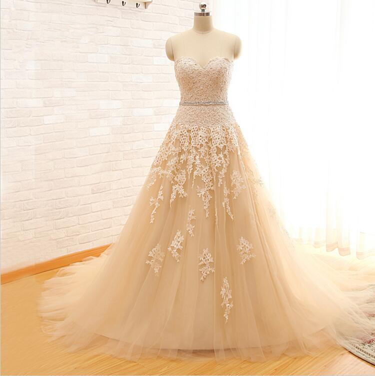 Wedding Gowns In Color: 2017 Sweetheart Light Champagne Lace Applique Wedding