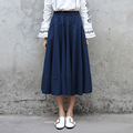 Yichaoyiliang 2017 New Vintage Chinese Style Imitative Cotton Linen Midi Skirt Navy Blue Patchwork Long Skirt Elastic Waist