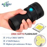 Super bright flashlight 3 cree xhp70 led flash light lumen waterproof torch 4 X 18650 battery Lanterna latarka linterna zaklamp