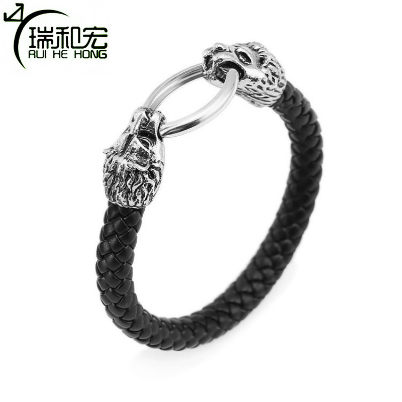 Mens Alloy Lion Head Bangle Braided Leather Bracelet Punk Style Bracelets & Bangles Pulseira Masculina Fashion Jewelry