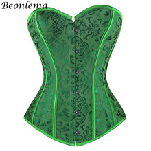 Beonlema Green Sexy Steam Punk Corset Women Tube Top Corselet Tummy Firm Controlling Bustier Strapless Plus Size Korse S 2XL