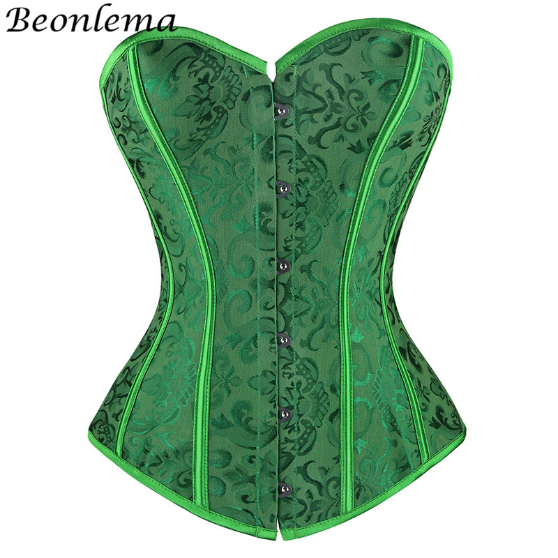 Beonlema Green Sexy Steam Punk   Corset   Women Tube Top Corselet Tummy Firm Controlling   Bustier   Strapless Plus Size Korse S-2XL