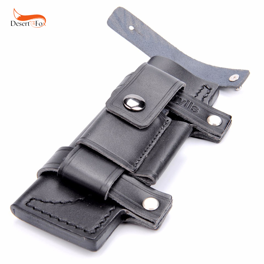 Collectable Straight Man-made Survival Leather Belt Sheath Scabbard For 7 Fixed Knife black Color 20 x 6.5 cm