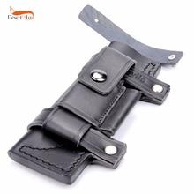 """جمع مستقيم رجل الصنع بقاء حزام جلد غمد Scabbard ل 7 """"ثابت سكين أسود اللون 20x6.5 سم"""