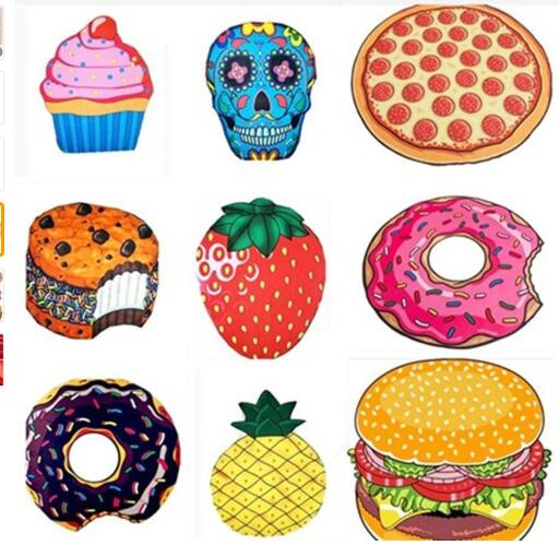 Round Beach Towel Donut Pizza Microfiber Towel Polyester Home Decoration  Bath Towel for Adults Mat Serviette ea962d3905