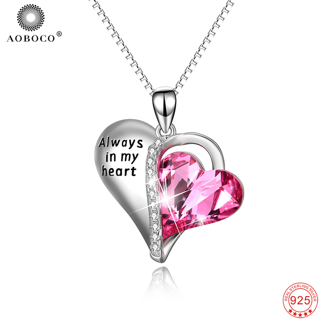 AOBOCO 925 Sterling Silver Luxury Pink Crystal Love Heart Pendant Necklace  For Women Always In My efb5a0861e13