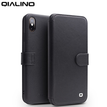 QIALINO Stylish Genuine Leather Flip Case for Apple iPhone XS/XR Magnetic Buckle Handmade Cover with Card Slot for iPhone XS MAX