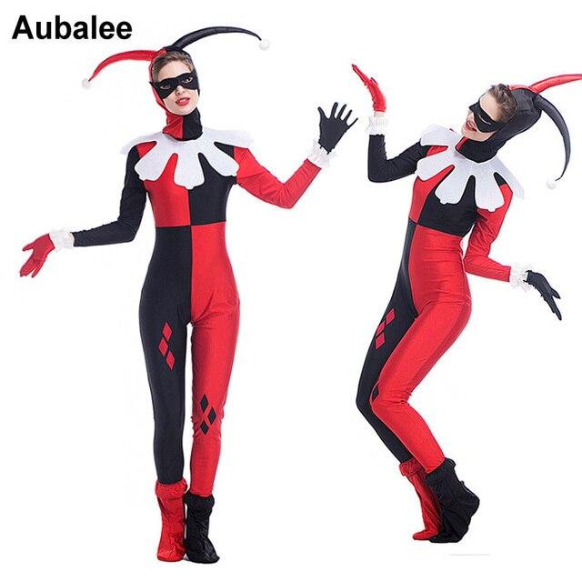 2018 Mujeres Partido Halloween Harley Quinn traje adulto superhéroe sexy  Joker payaso Cosplay disfraces Batman Arkham 1f9dc3400cd9