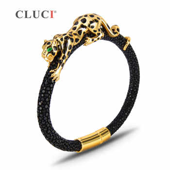 CLUCI 925 Sterling Silver leopard Bracelet with magnetic buckle Extraordinary Father's Day Gift gold color real leather for men - DISCOUNT ITEM  10% OFF All Category
