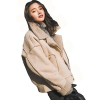 Winter Lambs Suede Women Warm Coat Female Loose Thick Short BF Motorcycle Clothes Solid Color Cotton