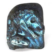Голова динозавра череп натуральный Лабрадорит Кристалл резная статуя ремесла домашний декор 4