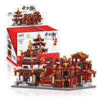 XingBao Building Blocks CHINA WANGJIANG TOWER CLOTH HOUSE LIBRARY TEAHOUSE Compatible Legoe Lepin Blocks Toys For Children
