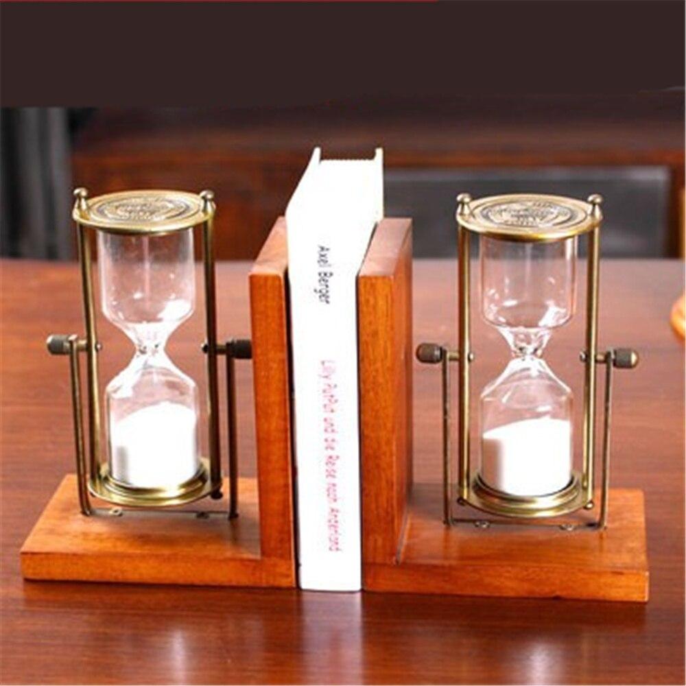 Une paire créative étagère en bois avec sablier porte-livre fournitures de bureau décoration de la maison livre Stand