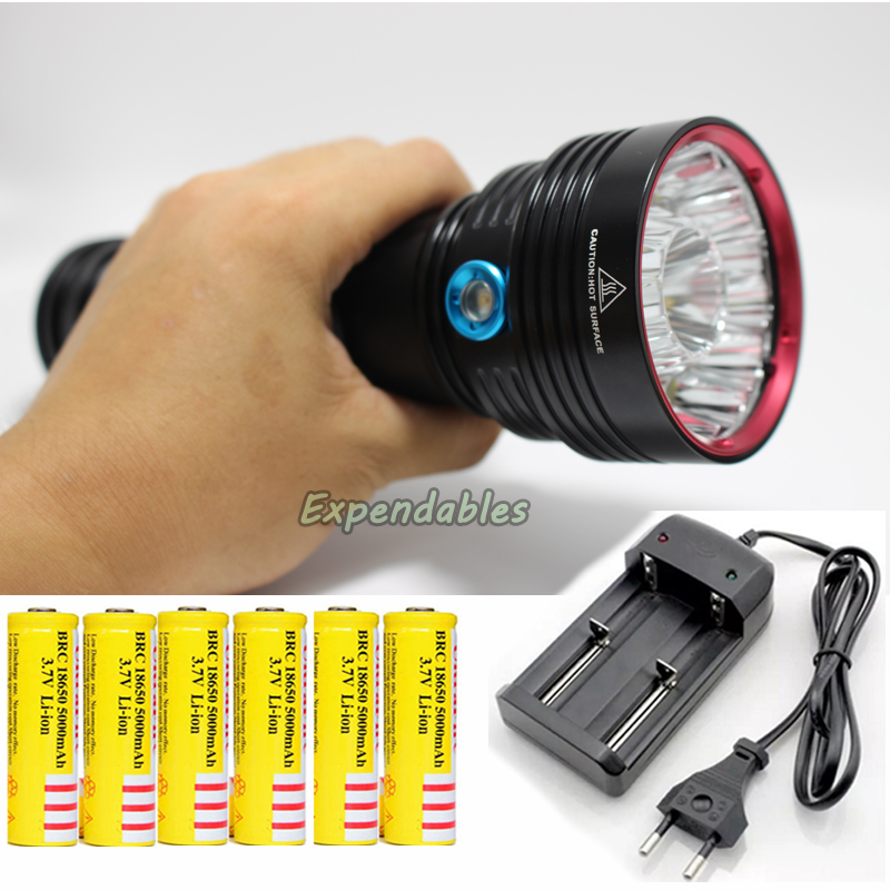 2016 New 25000 lumens 14x CREE XM-L T6 SKYRAY King LED Flashlight Lamp big power 6X18650 Rechargeable Battery + charger niteye ec a12 aa battery rechargeable led flashlight edc light cree xp l led lamp 380 lumens alloy reflector power indicator