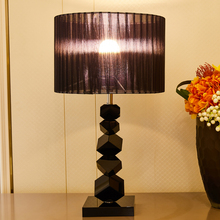 TUDA Black Crystal Table Lamp For Bedroom Led Lamps Pieces Lampshade Home Decor Modern 110v 220v