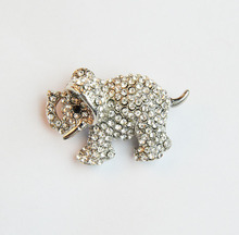 MZC Bohemia Style Lovely Small Full Crystal Elephant Brooch Rhinestone Animal Brooches for Womens Girls Broches