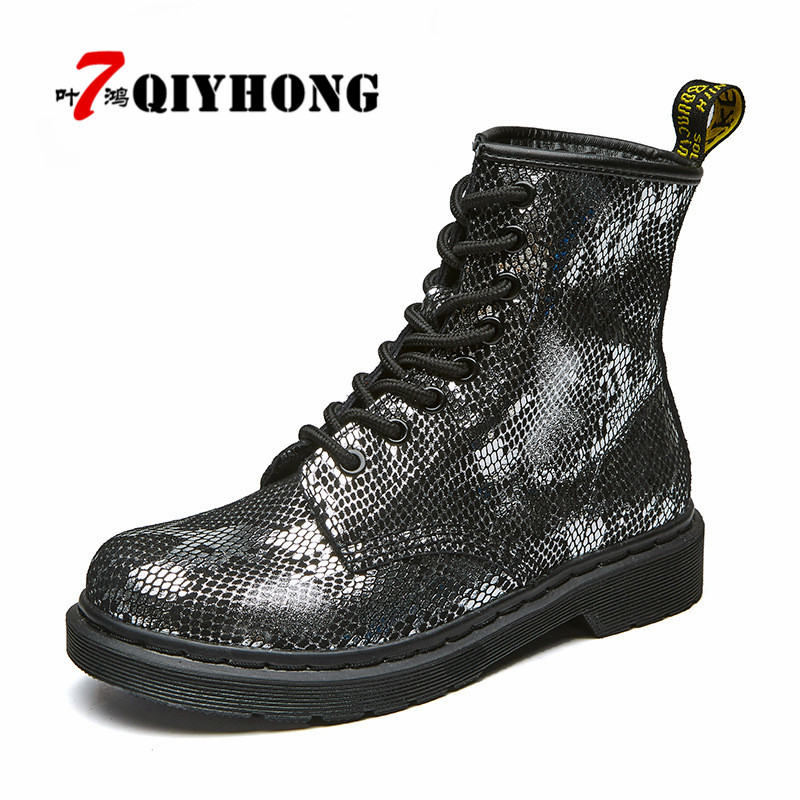 QIYHONG Botas Mujer Women Martin Boots Winter Warm Shoes Punk Flat Heel Boots Fashion Women'S Boots Brand Woman Feminina Ankle vtota ankle boots for women 2017 autumn boots heel shoes woman plataforma bota feminina women winter martin boots botas mujer d5