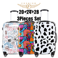 "2017 New Women Men Luggage Colorful Free Match 3pcs set (20""+24""+28"") 3 piece luggage sets Rolling Luggage cow flower stamp"