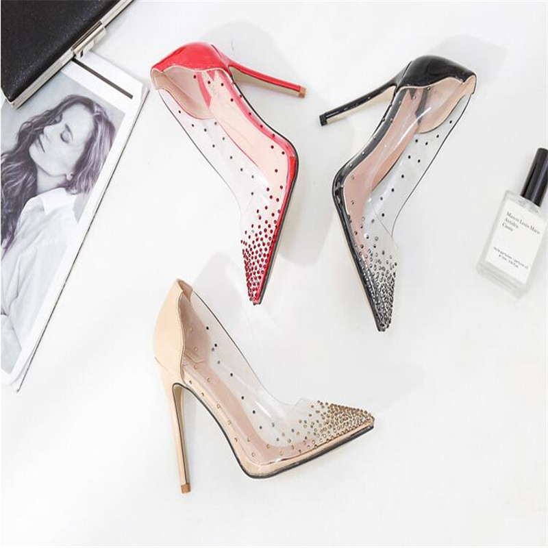 Transparent Rhinestone Women Pumps Classical Style Pointed Toe High Heels Chaussures Femme Wedding Pumps Plus Size 35-40
