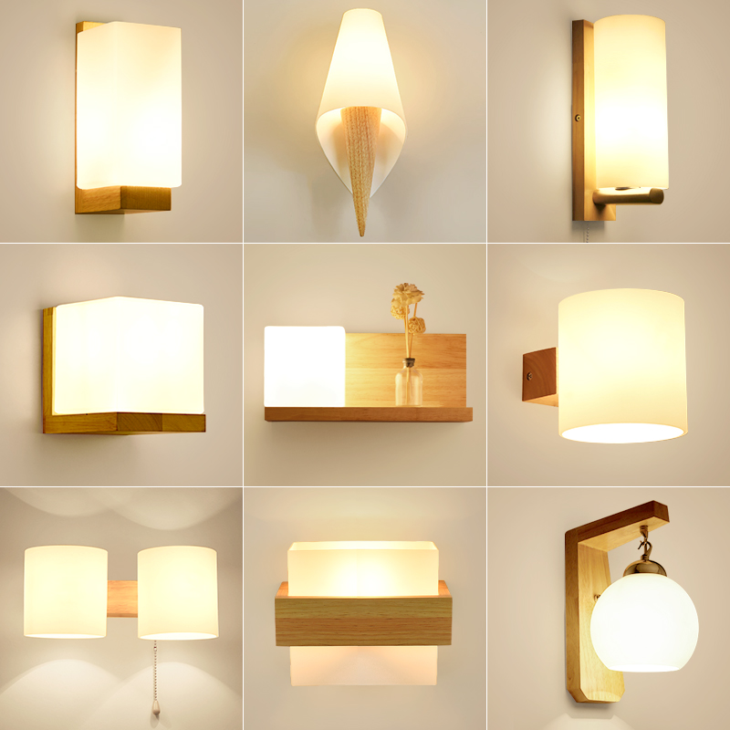 Bedroom bedside lamp LED wall lamp Chinese solid wood simple corridor porch lamp Nordic living room creative wall lamp 1