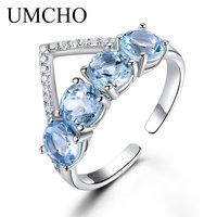 UMCHO 925 Sterling Silver Natural Blue Topaz Ring Crown Blue Various Gemstone Rings For Women Engagement