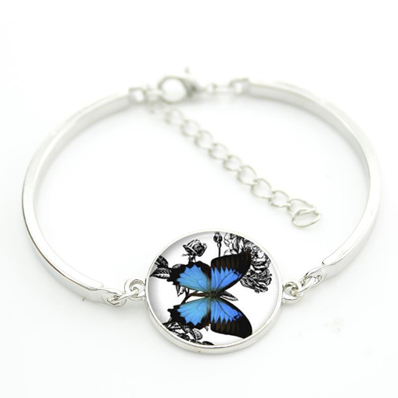 Romantische weiße und blaue schmetterling kunst bild glas halskette - Modeschmuck - Foto 5