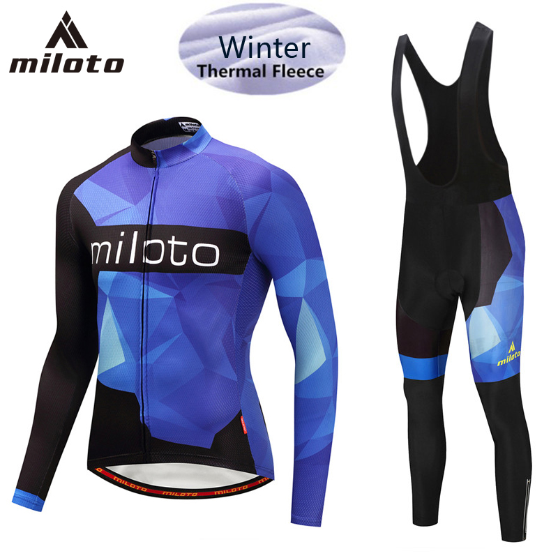 цена MILOTO Winter Long Cycling Jersey Sets Thermal Fleece Ropa Roupa De Ciclismo Invierno MTB Bicycle Clothing Racing Bike Wear 5XL