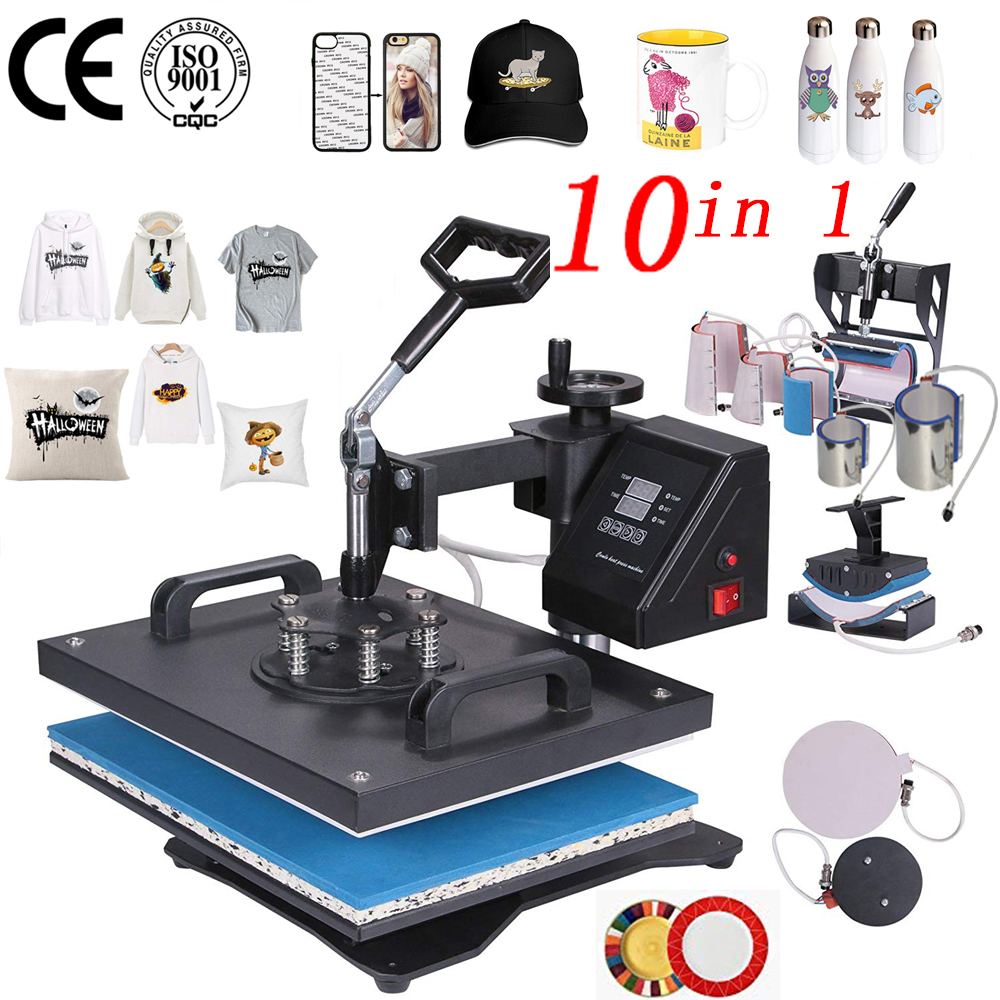Promotion doubl display 30 38CM 10 in 1 Combo Heat press Machine Sublimation Printer 2D Transfer