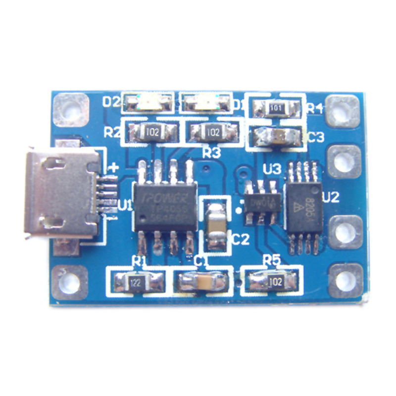10pcslot TP4056 Charge And Discharge Protection Module Over Current Over Voltage Protection 18650 MicroUSB refletor fq led